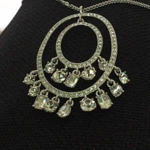 """Givenchy 16""""Necklace W/3""""Ext Double CrystalRngPend"""